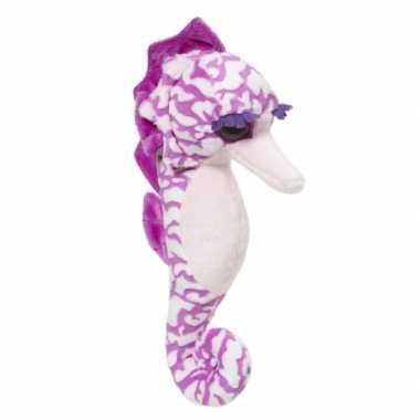 Knuffel zeepaard paars 26 cm
