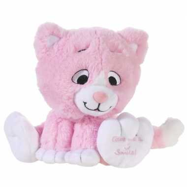 Lichtroze knuffel kat/poes give me a smile 14 cm