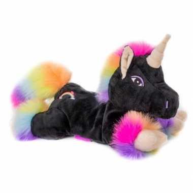 Magnetron warmte knuffel zwarte eenhoorn regenboog 18 cm