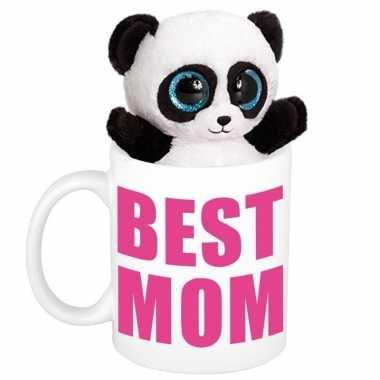 Moederdag best mom mok met knuffel panda