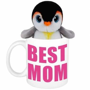 Moederdag best mom mok met knuffel pinguin