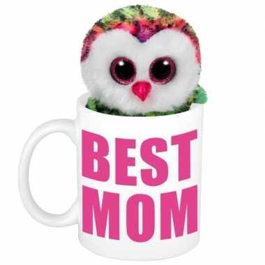 Moederdag best mom mok met knuffel uil