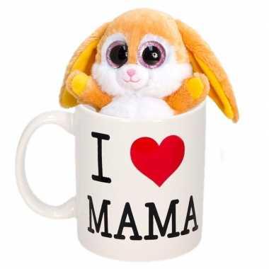 Moederdag i love mama mok met knuffel konijn