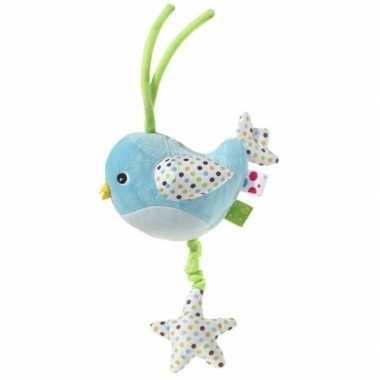 Muziek knuffel blauw vogel 15 cm