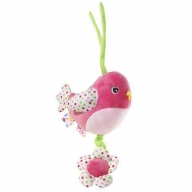 Muziek knuffel roze vogel 15 cm
