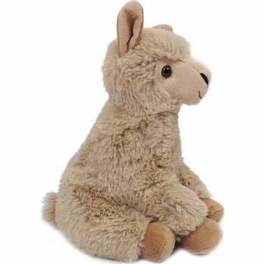 Pluche beige alpaca/lama knuffel 24 cm zittend