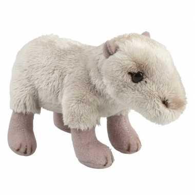 Pluche beige waterzwijn capibara knuffel 15 cm speelgoed