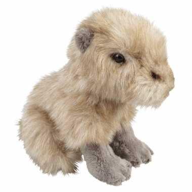 Pluche beige waterzwijn capibara zittend knuffel 18 cm speelgoed