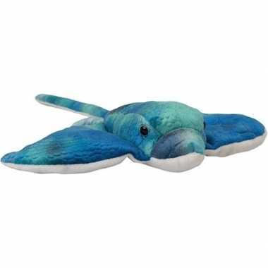 Pluche blauwe adelaarsrog/roggen knuffel 18 cm speelgoed
