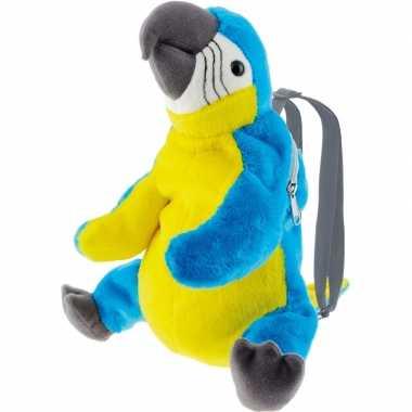 Pluche blauwe ara papegaai vogel rugtas/rugzak knuffel 32 cm