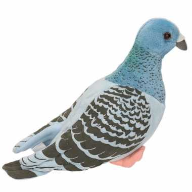 Pluche blauwe duif knuffel 24 cm