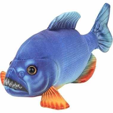 Pluche blauwe piranha vissen knuffel 18 cm speelgoed