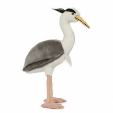 Pluche blauwe reiger vogel knuffel 33 cm speelgoed