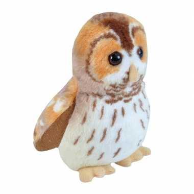 Pluche bosuil knuffel vogel met geluid 13 cm speelgoed