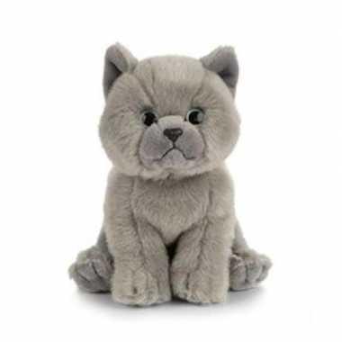 Pluche britse korthaar kat/poes knuffel 16 cm speelgoed