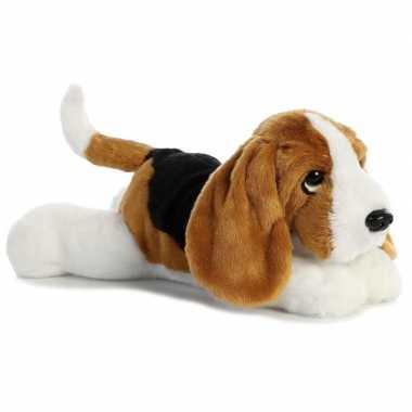 Pluche bruin/witte basset hound honden knuffel 30 cm speelgoed