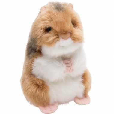 Pluche bruin/witte hamster knaagdieren knuffel 13 cm speelgoed