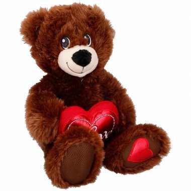 Pluche bruine beer/beren knuffel met hartje 33 cm speelgoed