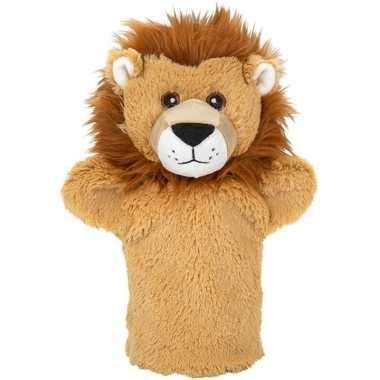 Pluche bruine leeuw handpop knuffel 24 cm speelgoed