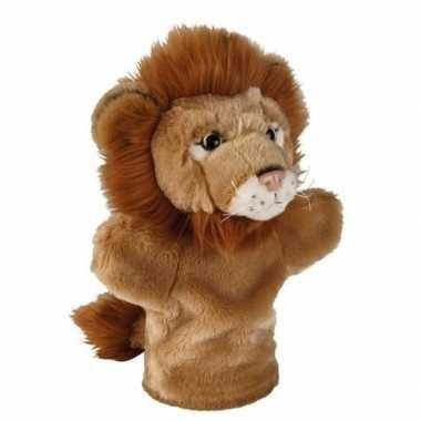 Pluche bruine leeuw handpop knuffel 26 cm speelgoed