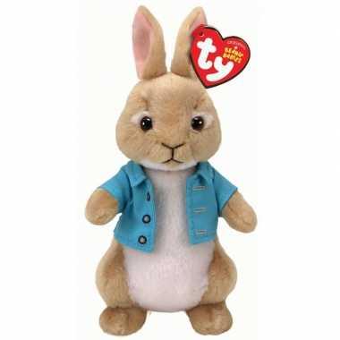 Pluche bruine pieter konijn wipstaart paashaas knuffel 15 cm