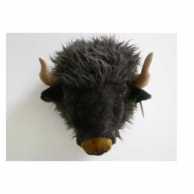 Pluche buffel dierenhoofd knuffel 40 cm muurdecoratie