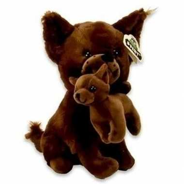 Pluche chihuahua honden knuffel donkerbruin 36 cm