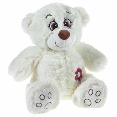 Pluche creme knuffelbeer met glitters 40 cm