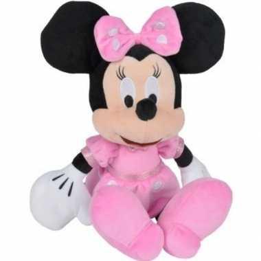 Pluche disney minnie mouse knuffel met roze jurk 19 cm speelgoed