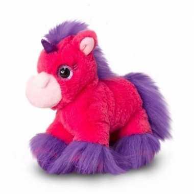 Pluche eenhoorn knuffels fel roze 18 cm