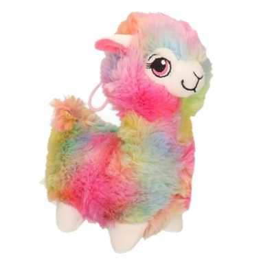 Pluche gekleurde alpaca/lama knuffel 20 cm speelgoed