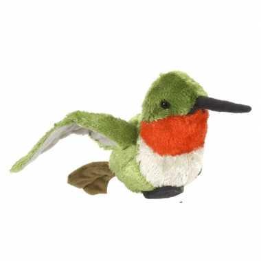 Pluche gekleurde kolibrie knuffel vogel 15 cm speelgoed