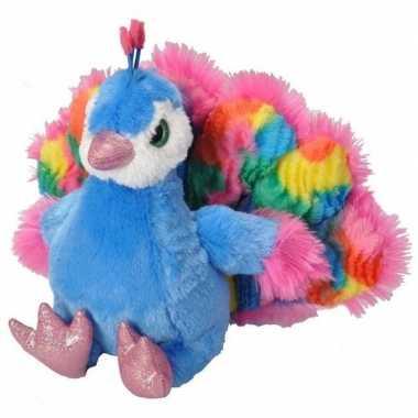 Pluche gekleurde pauw knuffel 35 cm speelgoed