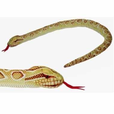 Pluche gevlekte gouden python/slangen knuffel 150 cm speelgoed