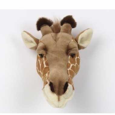 Pluche giraffe dierenhoofd knuffel 30 cm muurdecoratie
