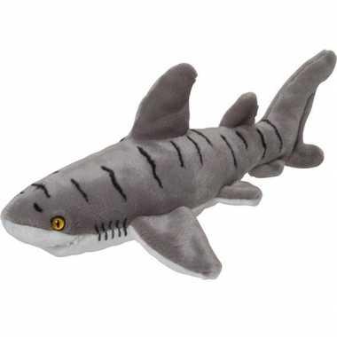 Pluche grijs gestreepte tijgerhaai knuffel 40 cm speelgoed