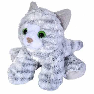 Pluche grijze cyperse kat/poes knuffel 18 cm speelgoed