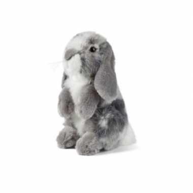 Pluche grijze hangoor konijn knuffel 19 cm speelgoed