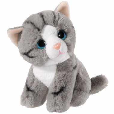 Pluche grijze kat/poes knuffel 14 cm speelgoed