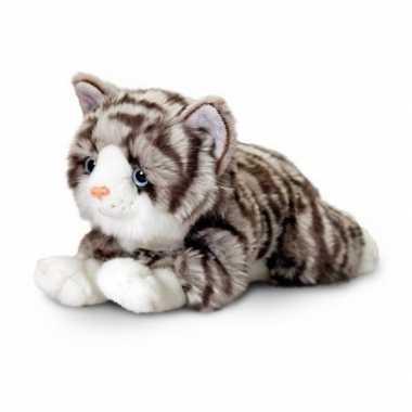 Pluche grijze katten/poezen knuffelbeest van 36 cm