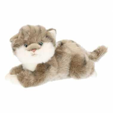 Pluche grijze kitten/poes knuffel 27 cm