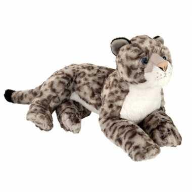 Pluche grijze liggende sneeuwluipaard knuffel 40 cm speelgoed