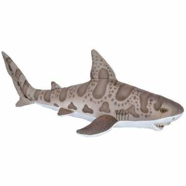 Pluche grijze luipaard haai knuffel 60 cm speelgoed