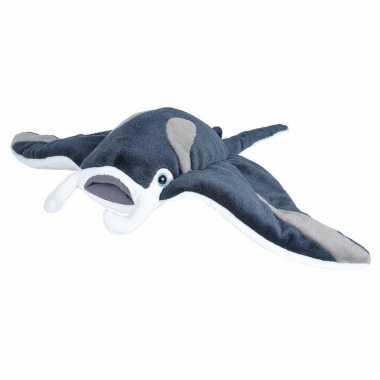 Pluche grijze mantarog/roggen knuffel 35 cm speelgoed