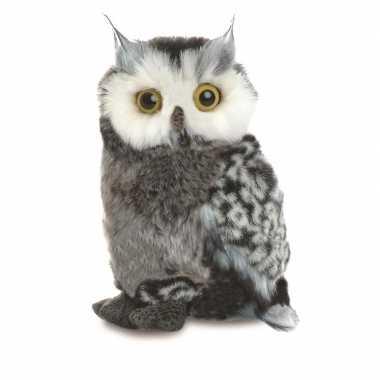Pluche grijze oehoe uil vogel knuffel 23 cm speelgoed