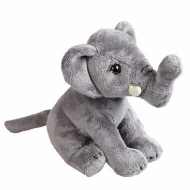 Pluche grijze olifant knuffel 19 cm speelgoed