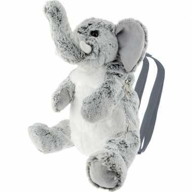 Pluche grijze olifant rugtas/rugzak knuffel 32 cm
