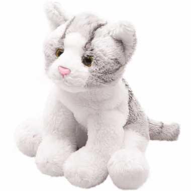 Pluche grijze poes/kat knuffel zittend 12 cm