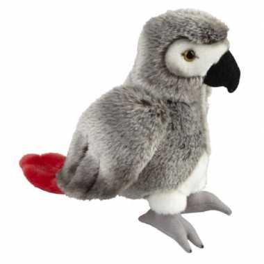Pluche grijze roodstaartpapegaai knuffel 28 cm speelgoed