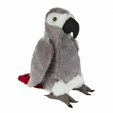 Pluche grijze roodstaartpapegaai knuffel 30 cm speelgoed